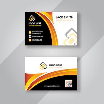 Carte de visite élégante noire et dorée