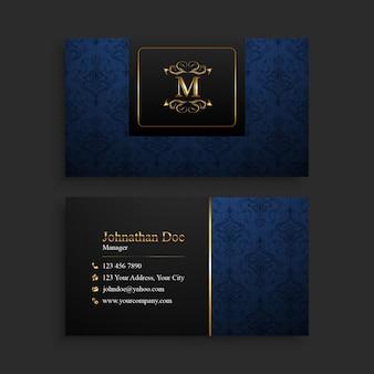 Carte de visite élégante or et bleu