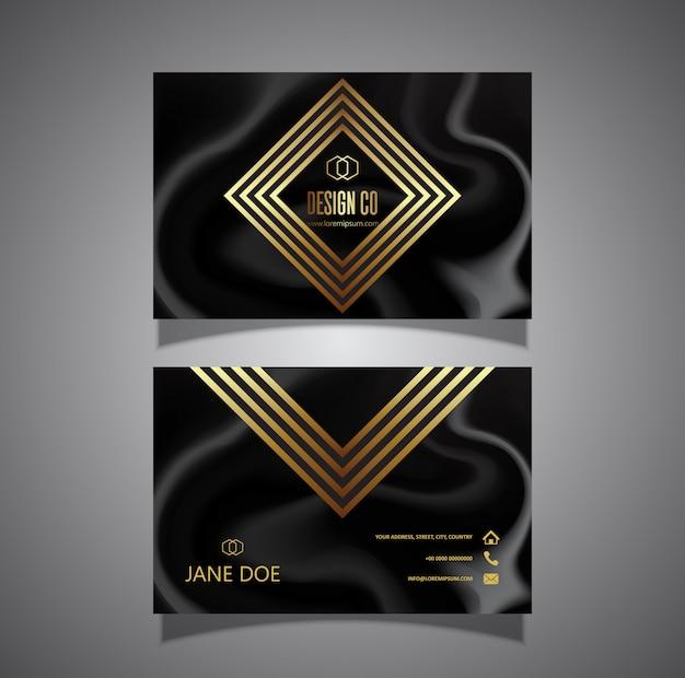 Carte de visite élégante en or et marbre noir
