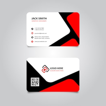 Carte de visite élégante rouge et noire