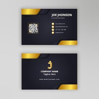 Carte de visite élégante simple en or noir