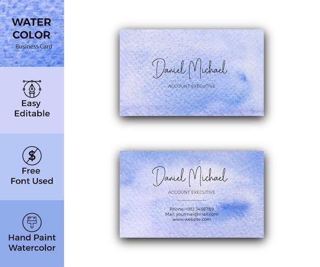 Carte de visite élégante texture aquarelle abstraite bleue