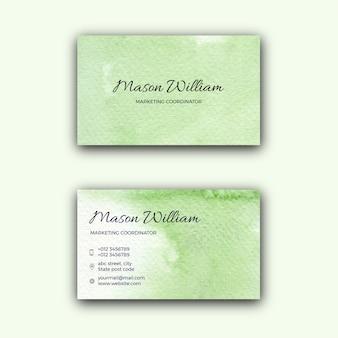 Carte de visite d'entreprise aquarelle texture verte