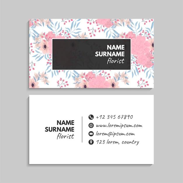 Carte de visite avec des fleurs aux couleurs pastel