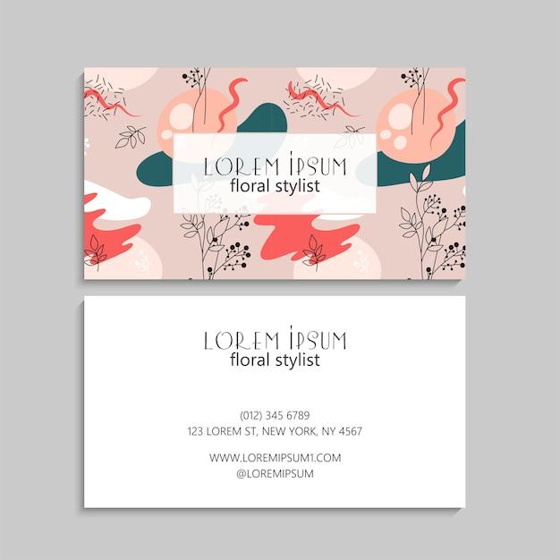 Carte De Visite Avec Des Fleurs Aux Couleurs Pastel Vecteur gratuit