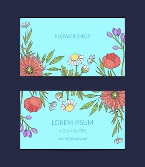 Carte de visite fleurs dessinées à la main
