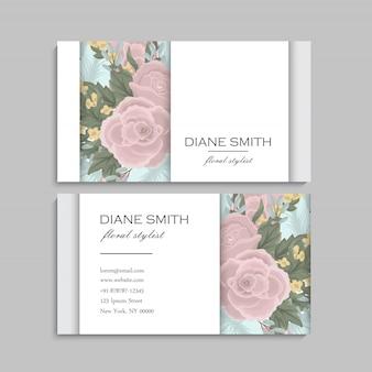 Carte de visite avec des fleurs roses et menthe