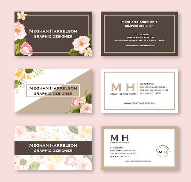 Carte de visite floral aquarelle rose