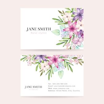 Carte de visite floral aquarelle