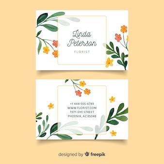 Carte de visite floral élégant modèle