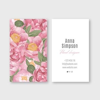 Carte de visite florale élégante