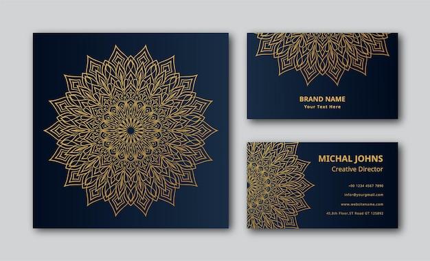 Carte de visite de fond de conception de mandala ornemental de luxe