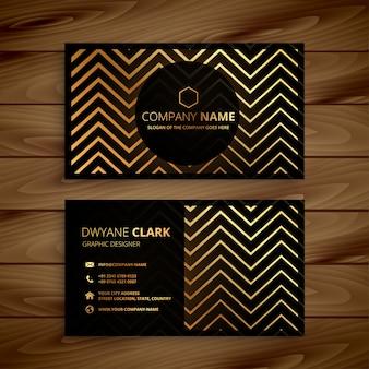 Carte de visite de formes élégantes de zigzag noir et or