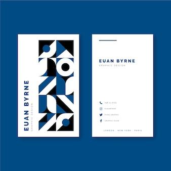 Carte de visite géométrique de couleur bleue classique