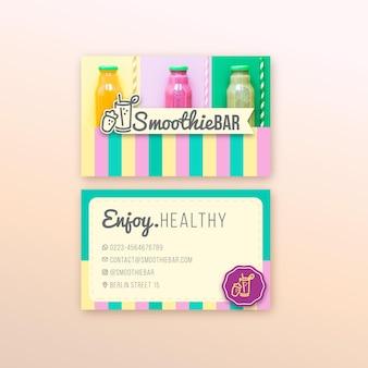 Carte de visite horizontale de barre de smoothie bio detox