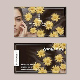 Carte de visite horizontale florale de salon de beauté