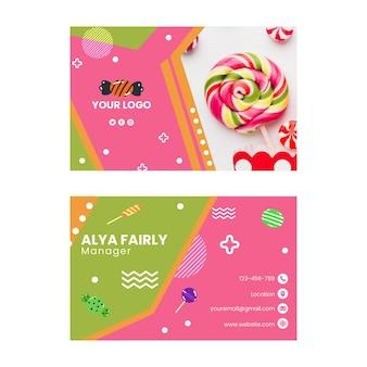 Carte de visite horizontale de magasin de bonbons