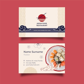 Carte de visite horizontale de restaurant japonais