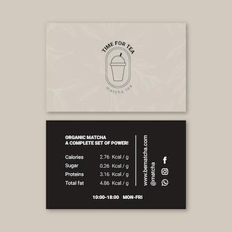 Carte de visite horizontale thé matcha