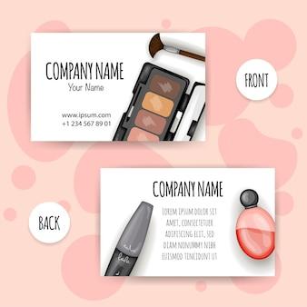 Carte de visite avec un kit de maquillage. style de bande dessinée.