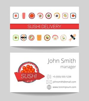 Carte de visite de livraison de sushi des deux côtés