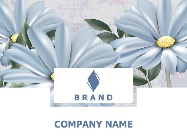 Carte de visite et livre de marque avec des fleurs de printemps