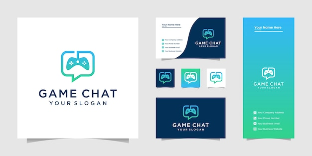 Carte de visite et logo de jeu joystick chat symbol