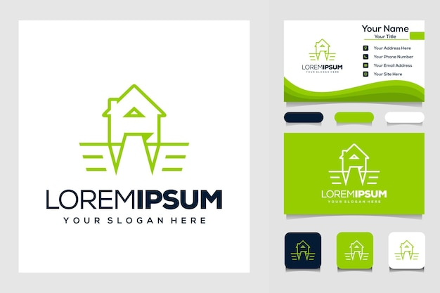 Carte de visite logo moderne ange et maison