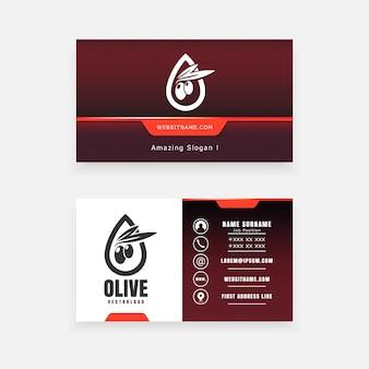 Carte de visite avec logo olive pour l'agriculture