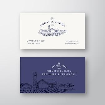 Carte de visite et logo vintage abstrait de paysage de ferme