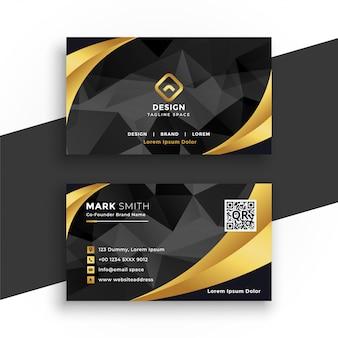 Carte de visite de luxe en couleurs noir et or