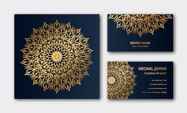 Carte de visite de luxe mandala décoration dorée fond de vecteur premium