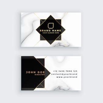 Carte de visite de luxe en marbre de style noir et blanc