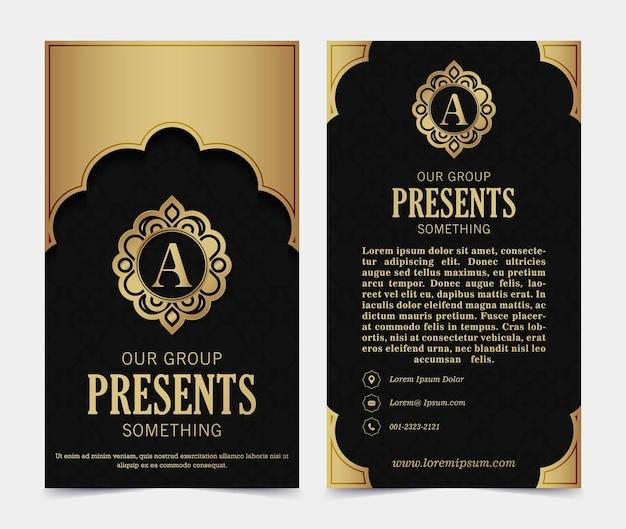 Carte de visite de luxe et modèle vectoriel de logo d'ornement vintage. l'élégant rétro fleurit la conception du cadre ornemental et l'arrière-plan du motif.
