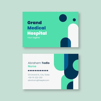 Carte de visite médicale de soins infirmiers vert bichromie moderne