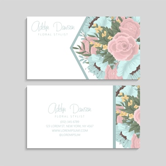 Carte de visite à la menthe et fleurs roses