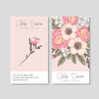 Carte de visite avec modèle de belles fleurs