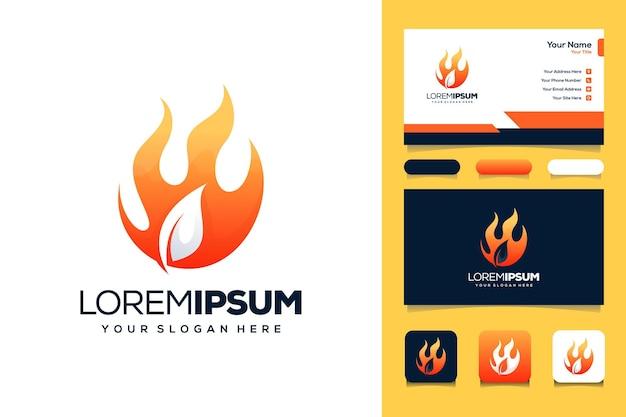 Carte de visite de modèle de logo de feuille et de feu
