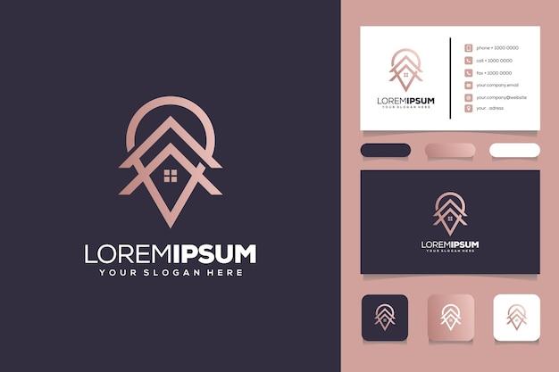 Carte de visite de modèle de logo de maison monogramme