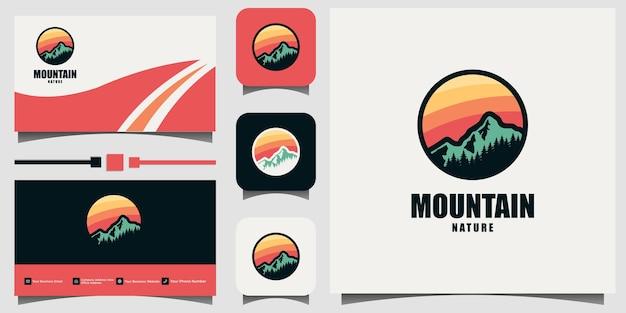 Carte De Visite De Modèle De Vecteur De Conception D'emblème De Logo De Montagne Vecteur Premium
