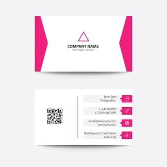 Carte de visite modern flat clean concept - couleur rose