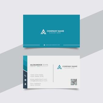 Carte de visite moderne blanc et bleu corporate professional