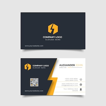 Carte de visite moderne logo d'entreprise noir et jaune professionnel
