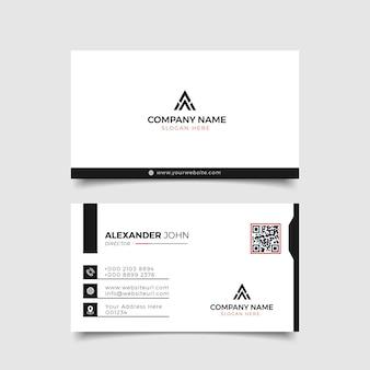 Carte de visite moderne noir et blanc corporate professional