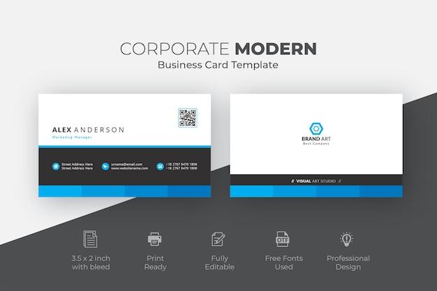 Carte de visite moderne professionnelle élégante noire et bleue
