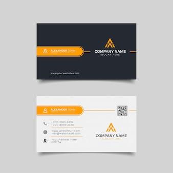 Carte de visite moderne professionnelle élégante noire et orange