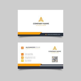 Carte de visite moderne professionnelle d'entreprise noire et jaune
