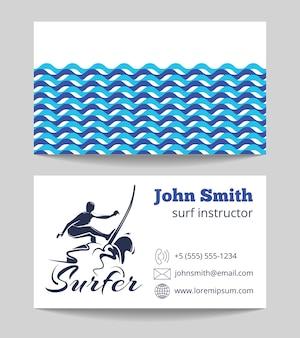 Carte de visite de moniteur de surf les deux côtés modèle