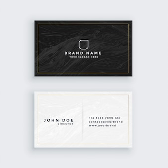 Carte de visite noir et blanc avec texture de marbre
