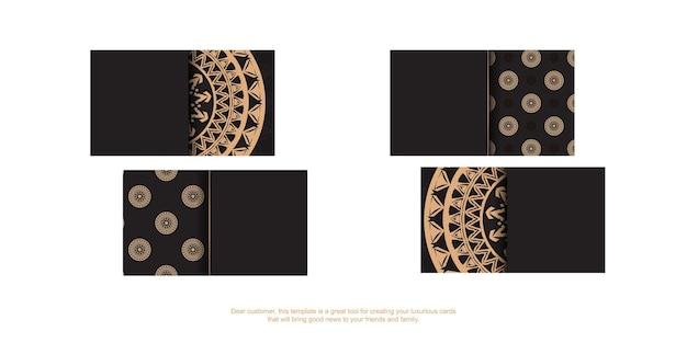 Carte de visite en noir avec ornement de luxe marron